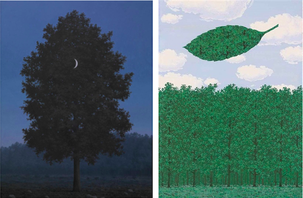 [left] René Magritte, The Sixteenth of September, 1956. Royal Museum of Fine Arts Antwerp, Artwork © 2020 Artists Rights Society (ARS), New York / Pro Litteris, Zurich [right] René Magritte, Le Choeur des Sphinges, 1964. Artwork © 2020 Artists Rights Society (ARS), New York / Pro Litteris, Zurich