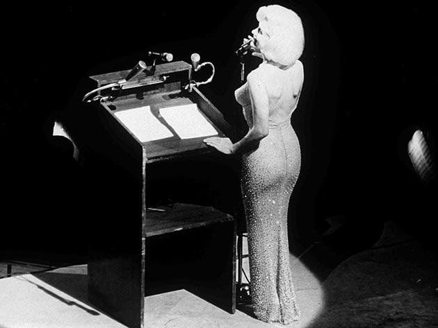 Marilyn Monroe sings Happy Birthday to John F Kennedy in 1962, Photograph: Snap/Rex/ Shutterstock