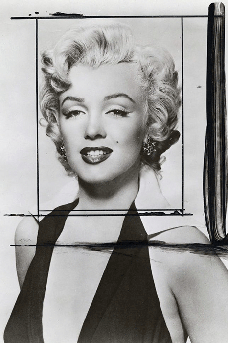 Publicity still of Marilyn Monroe for the film Niagara (1953), showing crop marks made by Andy Warhol; Warhol's source image for all the Marilyn portraits.