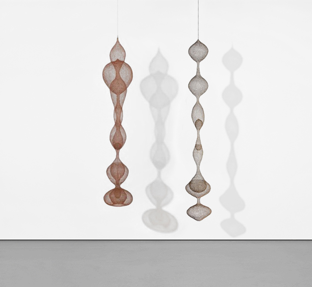 [left] Untitled (S.401, Hanging Seven-Lobed, Continuous Interlocking Form, with Spheres within Two Lobes), circa 1953-1954. Achieved $5,382,500 in 2020 [right] Untitled (S.267, Hanging Six-Lobed, Four Part, Discontinuous Surface with Interior Forms in the Third, Fourth and Fifth Lobes, 1952. Achieved $4,255,00 in 2020