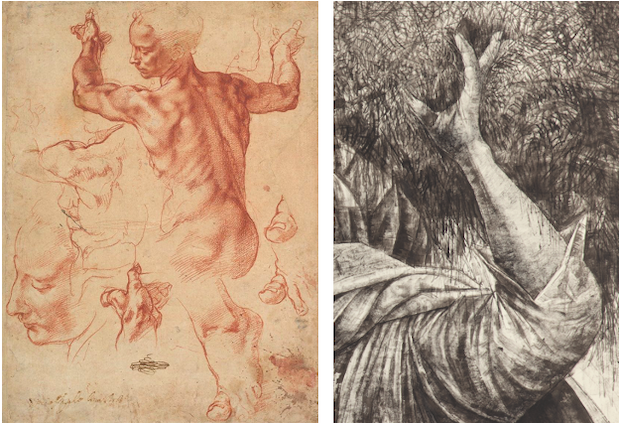 Michelangelo, Studies for the Libyan Sibyl, circa 1510-1511. The Metropolitan Museum of Art, [right] Detail of the present lot.