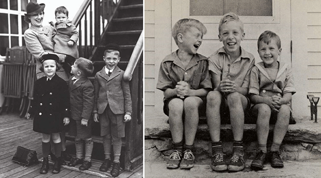 [left] Mary Rockwell, her three sons, and an unidentified girl aboard the SS Bremen, en route to London, March 1938. Courtesy of Jarvis Rockwell. [right] Norman Rockwell's sons (from left) Thomas, Jarvis and Peter in Vermont, early 1940s.