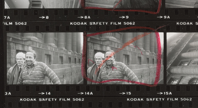 Robert Rauschenberg and Andy Warhol outside the Pergamon Museum; Andy Warhol contact sheets from March 2-5, 1982. Image copyright © 2020 Andy Warhol Foundation for the Visual