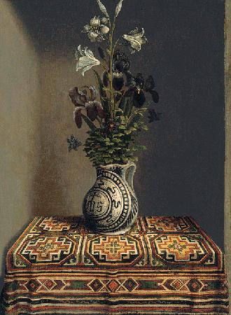 Hans Memling, Fleurs dans un vase (Flowers in a Jug), c. 1485, oil on wood, Thyssen-Bornemisza Collection, Madrid. Image: Bridgeman Images.