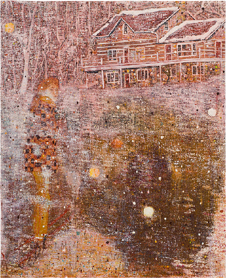 Peter Doig, Pink Snow, 1991, oil on canvas, The Museum of Modern Art, New York. © Peter Doig. All Rights Reserved, DACS 2020. Image: The Museum of Modern Art, New York/Scala Images, Florence.