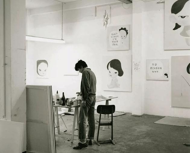 Yoshitomo Nara in his studio in Cologne, 1995