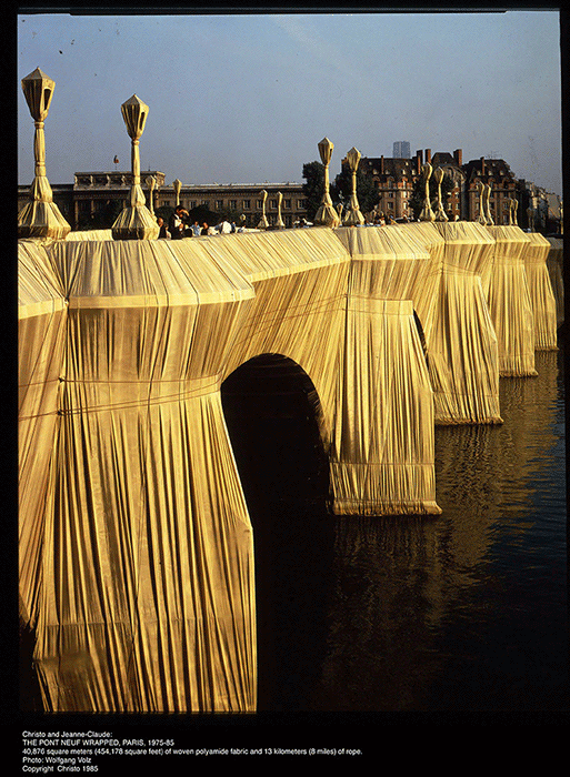 A photograph of the realised The Pont Neuf, Wrapped, Paris, 1985.
