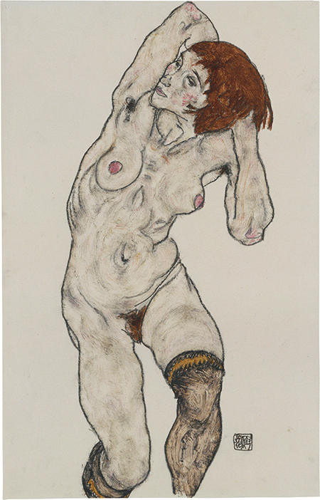 Egon Schiele, Standing Nude in Black Stocking, 1917, watercolor and charcoal on paper, Metropolitan Museum of Art, New York. Bequest of Scofield Thayer, 1982. Image: The Metropolitan Museum of Art/Art Resource/Scala, Florence.
