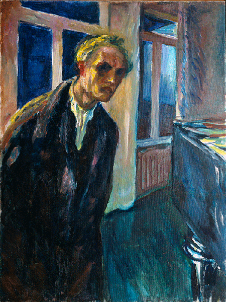 Self-Portrait or Man Walking Night Painting