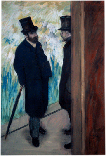 Edgar Degas,Portrait of the playwright and librettist Ludovic Halevy and Albert Boulanger-Cave standing backstage at the Opera,1879, pastel, Musée d'Orsay, Paris. Image: Photo Josse/Bridgeman Images