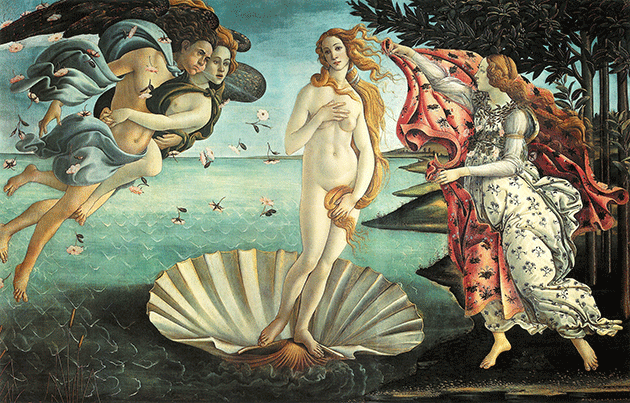 Sandro Botticelli, The Birth of Venus, 1486. Uffizi, Florence, Digital Image © Scala / Art Resource, NY