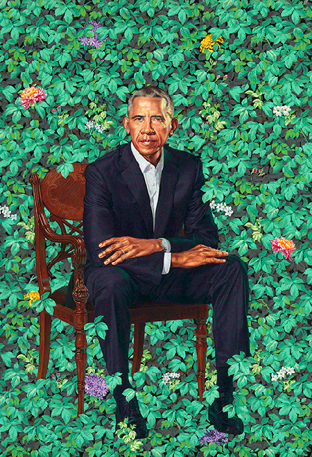 Kehinde Wiley, President Barack Obama, 2018, oil on canvas, National Portrait Gallery, Smithsonian Institution, Washington DC. © 2020 Kehinde Wiley. Image: Courtesy of the National Portrait Gallery, Smithsonian Institution, Washington DC.