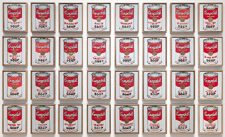 Andy Warhol, Campbell's Soup Cans, 1962, synthetic polymer paint on thirty-two canvases, Museum of Modern Art, New York. Digital image, The Museum of Modern Art, New York/Scala, Florence.