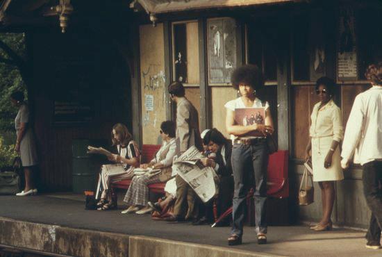 Commuters wait for the train in Philadelphia, circa 1975.