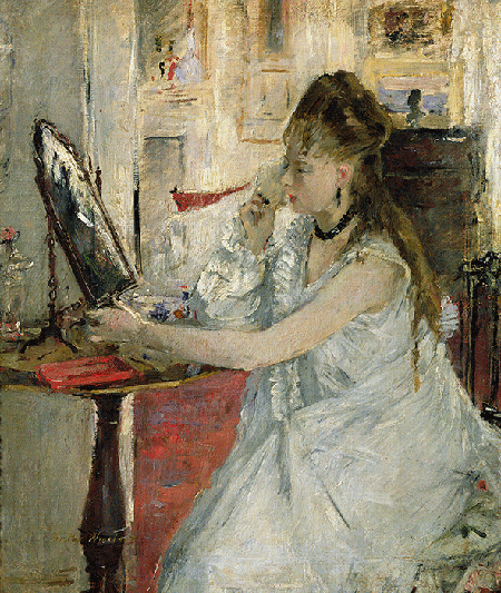 Berthe Morisot, Young Woman Powdering her Face, 1877, oil on canvas, Musee d'Orsay, Paris. Image: Bridgeman Images.