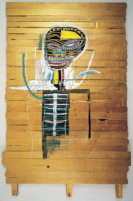 Jean-Michel Basquiat, Gold Griot, 1984, acrylic and pencil on wood, The Broad Art Foundation, California. © The Estate of Jean-Michel Basquiat / ADAGP, Paris and DACS, London 2020. Image: Adagp Images, Paris, / SCALA, Florence.