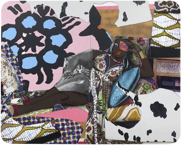 Qusuquzah Lounging with Pink + Black Flower, 2016.
