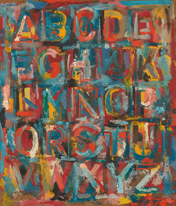 Jasper Johns, Alphabet, 1959. Collection of the Art Institute of Chicago