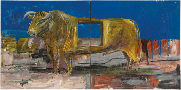 Albert Oehlen, Bull with Horn, 1986, oil and resin on canvas, private collection.  Image: © Christie's Images / Bridgeman Images. © Albert Oehlen. All Rights Reserved, DACS 2021.