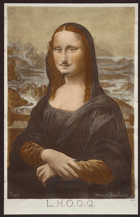Marcel Duchamp,Mona Lisa (L.H.O.O.Q), 1919, ready made with pencil, Philadelphia Museum of Art. Image: Scala Images.