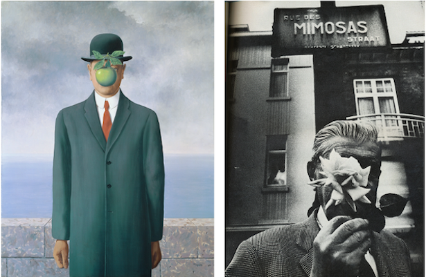 [left] René Magritte, The Son of Man, 1964. Private Collection, Photo credit: Banque d'Images, ADAGP / Art Resource, NY, Artwork © 2020 C. Herscovici, Brussels / Artists Rights Society (ARS), New York [right] René Magritte photographed in Belgium, 1967.