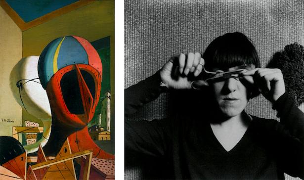 [left] Giorgio de Chirico, Metaphysical Muses, 1918. Cameraphoto Arte, Venice / Art Resource, NY [right] Paul Nougé, Cils Coupés, 1929.