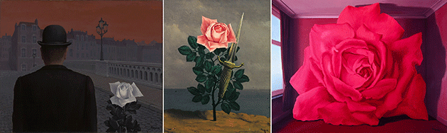 [left] René Magritte, Pandora's Box, 1951. Yale University Art Gallery, New Haven, Photo credit HIP / Art Resource, NY, Artwork © 2020 C. Herscovici, Brussels / Artists Rights Society (ARS), New York [center] René Magritte, The Blow to the Heart, 1952. Photo credit: Banque d'Images, ADAGP / Art Resource, NY, Artwork © 2020 C. Herscovici, Brussels / Artists Rights Society (ARS), New York [right] René Magritte, The Tomb of the Wrestlers, 1960. Private Collection, New York, Photo credit: Herscovici / Art Resource, NY, Artwork © 2020 C. Herscovici, Brussels / Artists Rights Society (ARS), New York