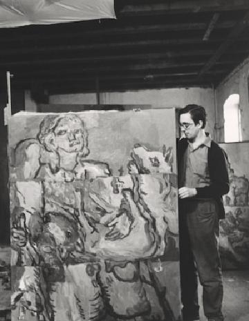 Georg Baselitz in his studio in Osthofen, 1966.