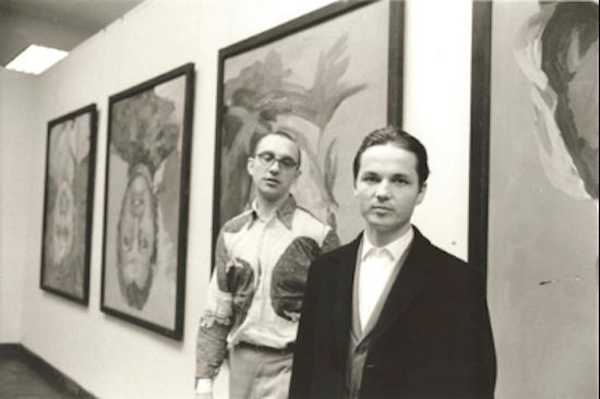 Georg Baselitz and Franz Dahlem photographed at Baselitz, Kunstverein Hamburg, April 20 – March 21, 1972. Artwork © 2020 Georg Baselitz