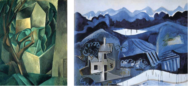 [left] Pablo Picasso, House in a Garden (La Rue des Bois), 1908. Pushkin Museum of Fine Arts, Moscow, Photo credit: Scala / Art Resource, NY, Artwork © 2020 Estate of Pablo Picasso/Artists Rights Society (ARS), New York [right] [right] Pablo Picasso, Paysage à Mougins, 1962-1963. Private Collection, Artwork © 2020 Estate of Pablo Picasso/Artists Rights Society (ARS), New York