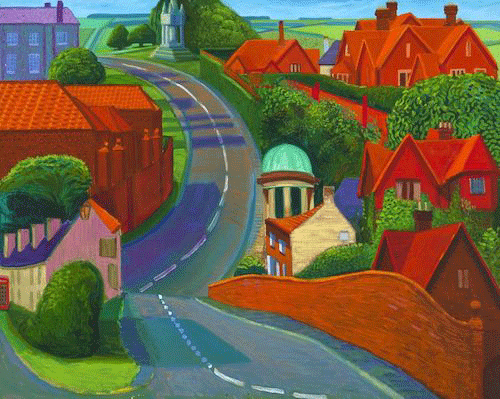 David Hockney, The Road to York through Sledmere, 1997. Private Collection