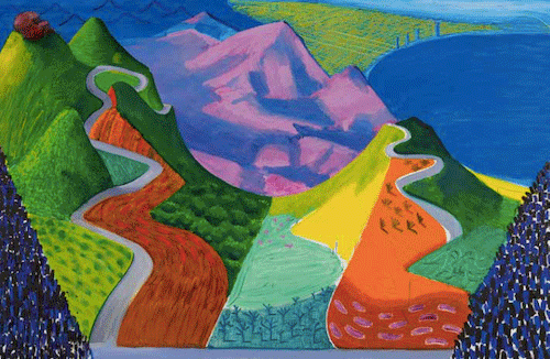 David Hockney, Pacific Coast Highway and Santa Monica, 1990. Private Collection