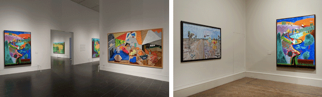 [left] The present lot installed in David Hockney, The Metropolitan Museum of Art, New York, November 17, 2017 – February 25, 2018. Artwork © David Hockney [right] The present lot installed in David Hockney: A Bigger Picture, The Royal Academy of Arts, London, January 21 - April 9, 2012. Artwork © David Hockney