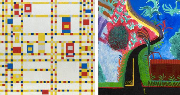 [left] Piet Mondrian, Broadway Boogie Woogie, 1942-1943. Museum of Modern Art, New York [right] Detail of the present lot.
