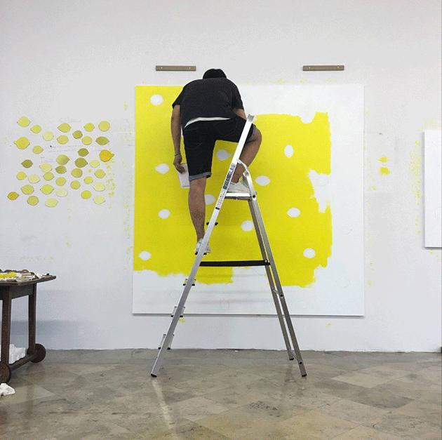 He Xiangyu in his studio in Berlin