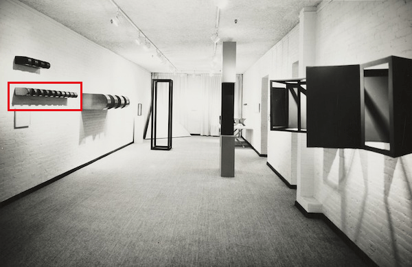 The present work installed in Art in Process: the Visual Development of a Structure, Finch College Museum of Art, 1966. Artwork © 2020 Judd Foundation / Artists Rights Society (ARS), New York