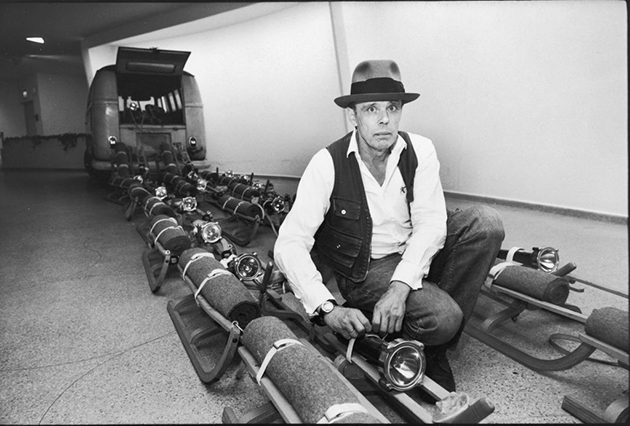 Joseph Beuys with his work The Pack (1969) at the Guggenheim Museum prior to the opening of his 1979 retrospective. Image: Ted Thai/Getty Images © DACS 2021