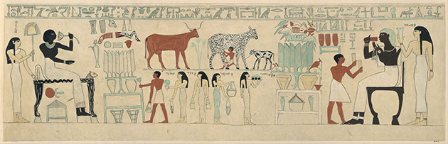 Facsimile of the painting on the inner back side of the sarcophagus of Aashyt, ca. 2051–2030 B.C. Collection of the Metropolitan Museum of Art, New York.