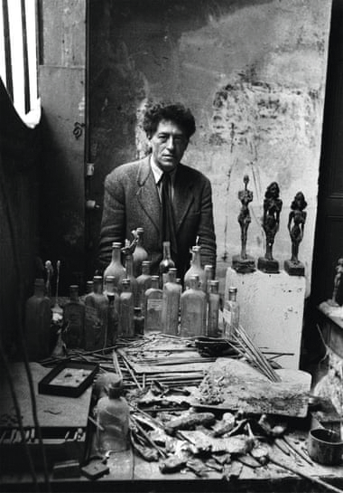 Alberto Giacometti in his studio, Paris, 1954.  Image: Sabine Weiss. © The Estate of Alberto Giacometti (Fondation Giacometti, Paris and ADAGP, Paris), licensed in the UK by ACS and DACS, London 2021.