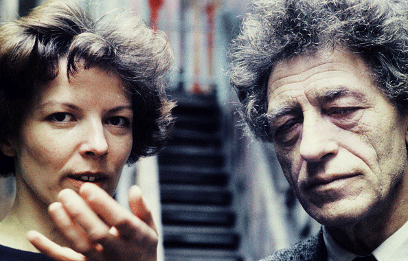 Alberto Giacometti with Annette Arm at his studio in Paris, France 1962.  Photo: Wolfgang Kuhn/United Archives via Getty Images.