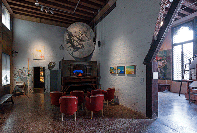 Installation shot: Venice, Palazzo Fortuni, Quand fondra la neige où ira le blanc, 4 June - 10 October 2016. Above the door: Alighero Boetti. Left of the door: Jiri Kovanda. Right wall: Etel Adnan, California #17.