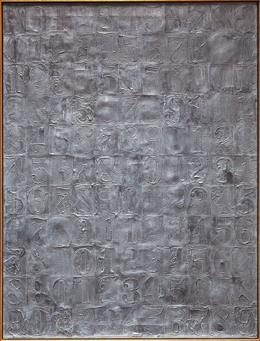 Jasper Johns, Sculpmetal Numbers, 1963, sculp-metal on canvas, Philadelphia Museum of Art, Philadelphia. Image: © 2021 The Philadelphia Museum of Art/Art Resource/Scala, Florence. © Jasper Johns/VAGA at ARS, NY and DACS, London 2021.