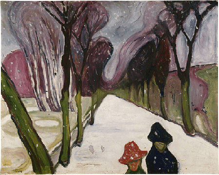 Edvard Munch, Avenue under the Snow, 1906, oil on canvas, Oslo. © 2021. Image: Scala, Florence.