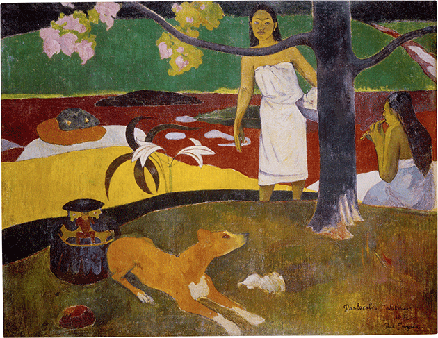 Paul Gaugin, Two Tahitian Women and a Dog (Tahitian Pastorales), 1893, oil on canvas, Hermitage Museum, St. Petersburg.  Image: Scala, Florence.