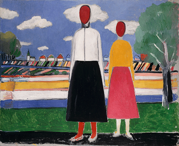 Kasimir Malevich, Two Figures in a Landscape, c.1931-32, oil on canvas, private collection.  Image: Scala, Florence.