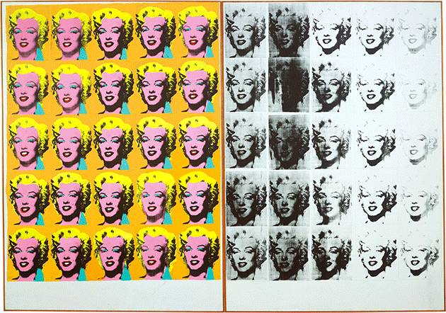 Andy Warhol, Marylin Diptych, 1962, silkscreen ink and acrylic paint on canvas, Tate Britain, London. Image: © Tate. © 2021 The Andy Warhol Foundation for the Visual Arts, Inc. / Licensed by DACS, London.