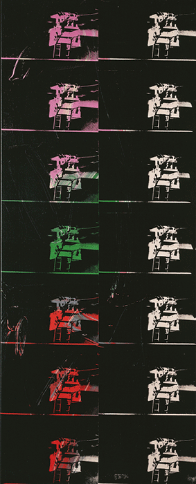 Andy Warhol, Fourteen Small Electric Chairs (Reversal Series), 1980, silkscreen inks and synthetic polymer on canvas, Private Collection. Image: Bridgeman Images