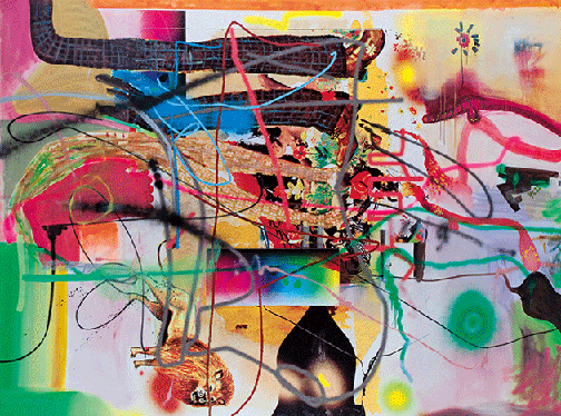 Albert Oehlen, Tidying Up, 1998, inkjet ink, oil, acrylic and enamel on canvas, Private Collection. Image: Scala, Florence.
