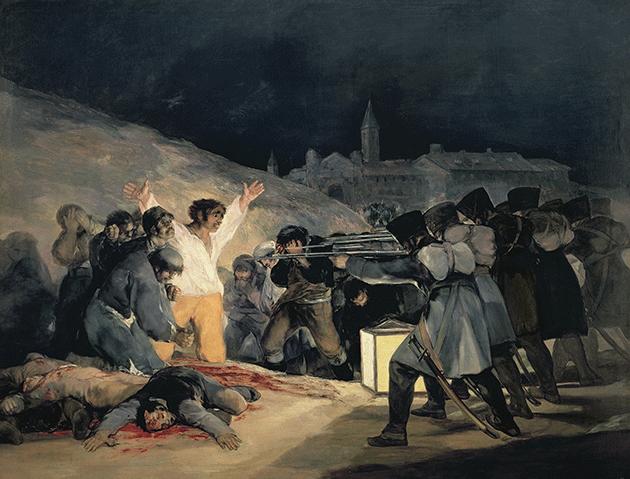 Francisco Goya, Execution of the Defenders of Madrid, c. 1810-1814, oil on canvas, Prado, Madrid. Image: Bridgeman Images.