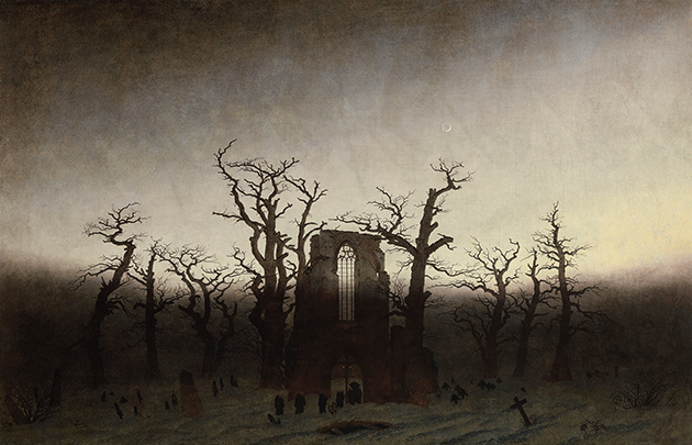 Caspar David Friedrich, Abbey in an Oak Forest, 1809-1810, Nationalgalerie, Staatliche Museen, Berlin, Photo credit bpk Bildagentur / Art Resource, New York